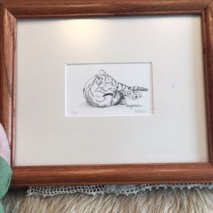 Cat Print Picture Wooden Frame